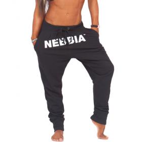 Pantaloni lungi drop crotch Nebbia, Negru